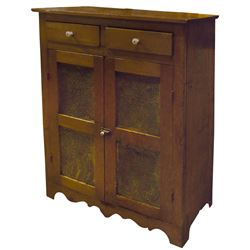 Furniture, pie safe, pine 2-door 2-drwr, pierced tin panels, square nails & scalloped cutouts at bot