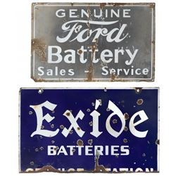 Automobilia, porcelain signs (2), Ford Battery Sales-Service, made by Veribrite Sign Co, Fair cond w