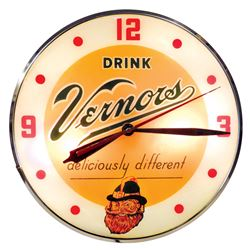 "Soda fountain clock, Drink Vernors, glass face in metal case, Exc working cond, 15""Dia."