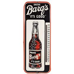 Soda fountain thermometer, Drink Barq's It's Good, metal w/detailed bottle graphic, wood holder on b