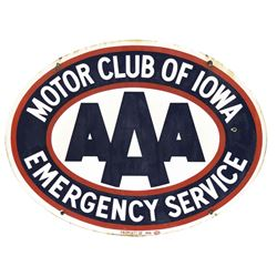 automobilia sign aaa motor club of iowa emergency service 2 sided porcelain oval exc cond both s