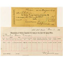 Two Documents for Comstock Gold Bars Going to CC Mint