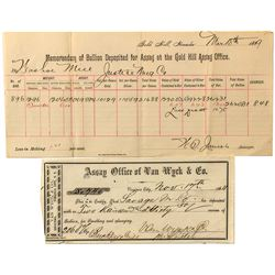 Two Comstock Assay Receipts
