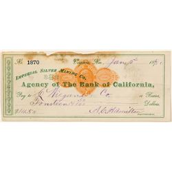 Wiegand check from Imperial Silver Mining Company