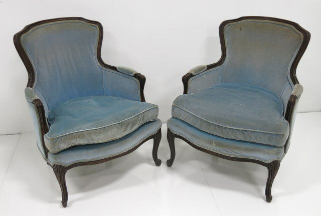 Image 1 : Pair Mid Century Blue Upholstered Bergere Chairs ...