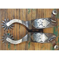 Texas style silver overlaid spurs