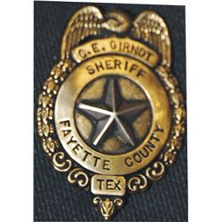 CE Girndt, Fayette TX sheriff badge