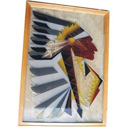 Indian chief stained glass