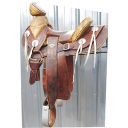 Mexican style restored saddle, formerly ridden  by Buffalo Bill