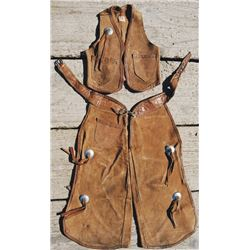 Miller Ranchware 50's leather kids vest and chaps set