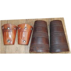 cowboy cuffs, border tooled full size pair