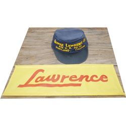 Lawrence cloth sign, rare Lawrence auto repair shop hat
