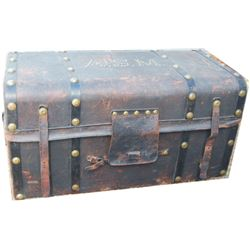 Circa 1860 Asa Shinn Mercer spotted leather covered trunk