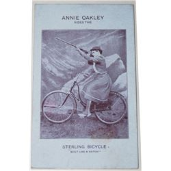extremely rare original Anne Oakley Sterling Bicycle advertising card