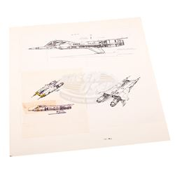 "Buck Rogers in the 25th Century (TV) - Original Ralph McQuarrie ""Thunderfighter"" Concept Sketch"