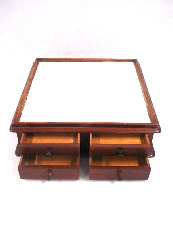 ... Image 4 : Table Top Wooden Dental Cabinet Having An Inset Milk Glass  Top Over Four ...