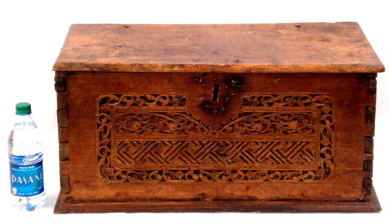 Image 1  Small primitive restored oriental storage box - carved front hand forged iron ...  sc 1 st  iCollector.com & Small primitive restored oriental storage box - carved front hand ...