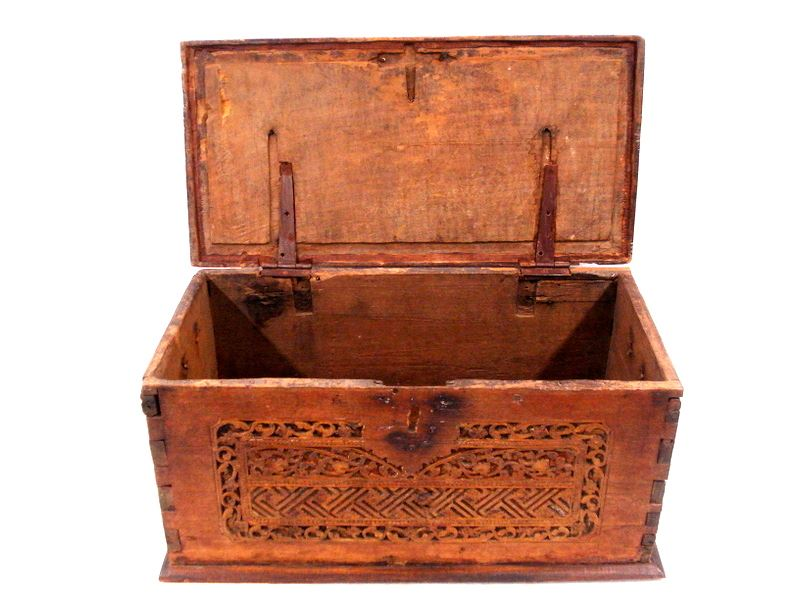 ... Image 2  Small primitive restored oriental storage box - carved front hand forged iron ...  sc 1 st  iCollector.com & Small primitive restored oriental storage box - carved front hand ...