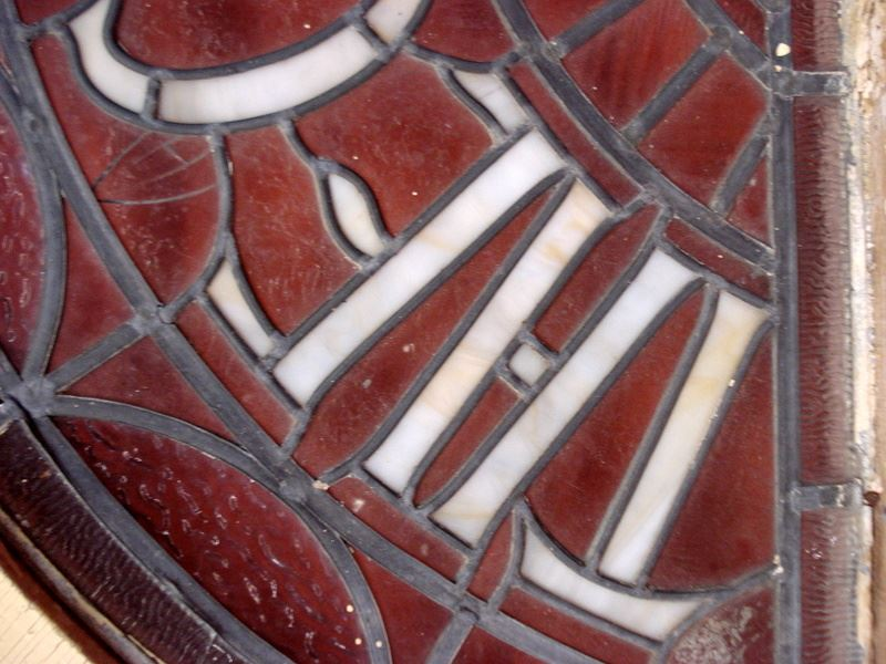 """Small Round Windows: Unusual Leaded And Stained Glass Half-round Window. """"THE"""