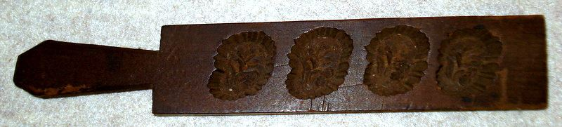 Lot of three carved maple sugar molds single mold with