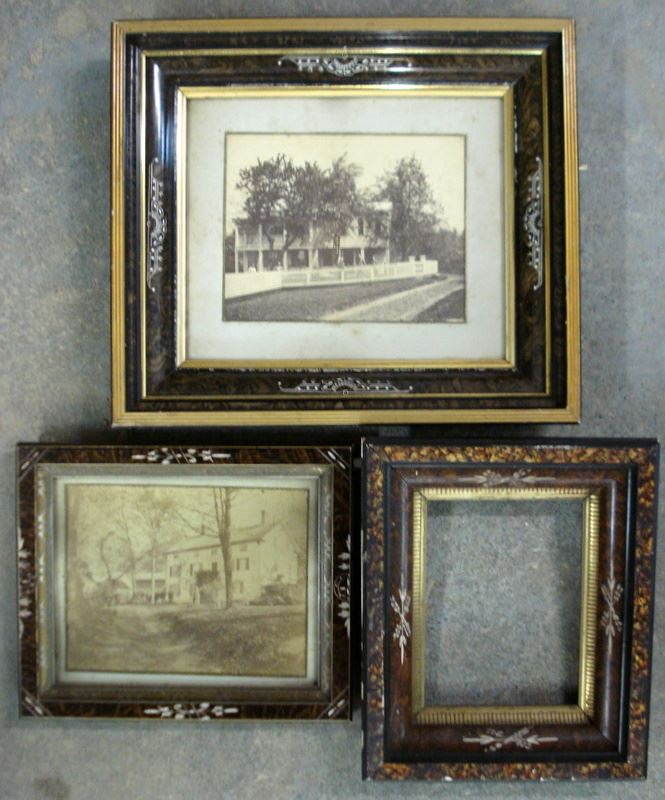 Three Eastlake frames with grain painting and gold insets, two ...