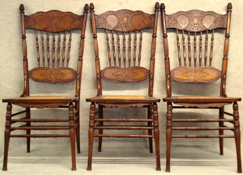 Pressed Oak Chairs ~ Antique press back chairs furniture