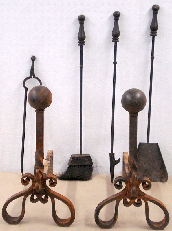 Lot Of Five Fireplace Items Including A Pair Of Cast Iron Cannonball