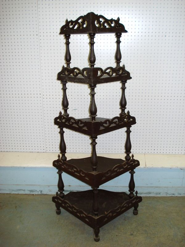 ... Image 4 : Two Pieces Of Victorian Furniture Including A Black Walnut  Corner étagère Having 5 ...