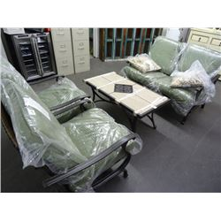 Outdoor Set w/Tiled Table w/2 Chairs & Love Seat
