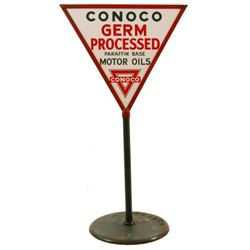 Conoco Motor Oil Porcelain Triangle Lollipop Sign
