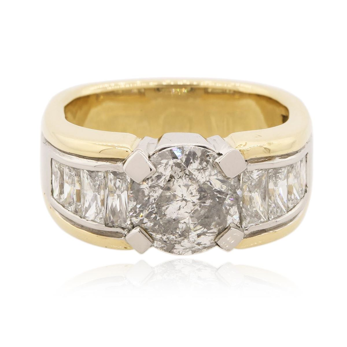 Yellow Gold Diamond Platinum: Platinum And 18KT Yellow Gold 4.91 Ctw Diamond Ring