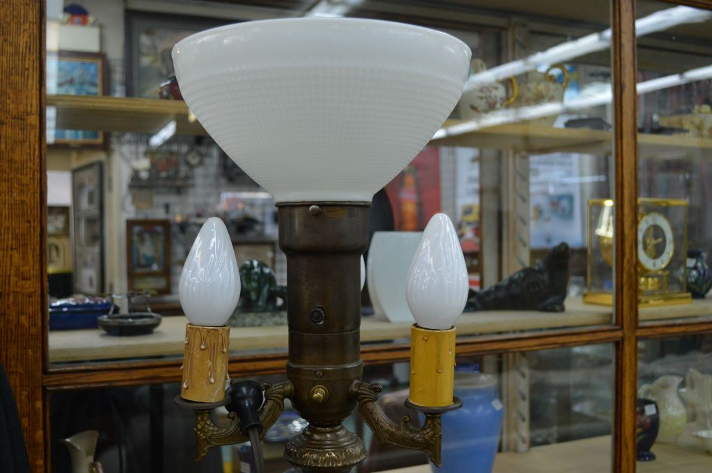 Image 2 Antique Floor Torch Style Lamp With Four Candle Bulbs On A