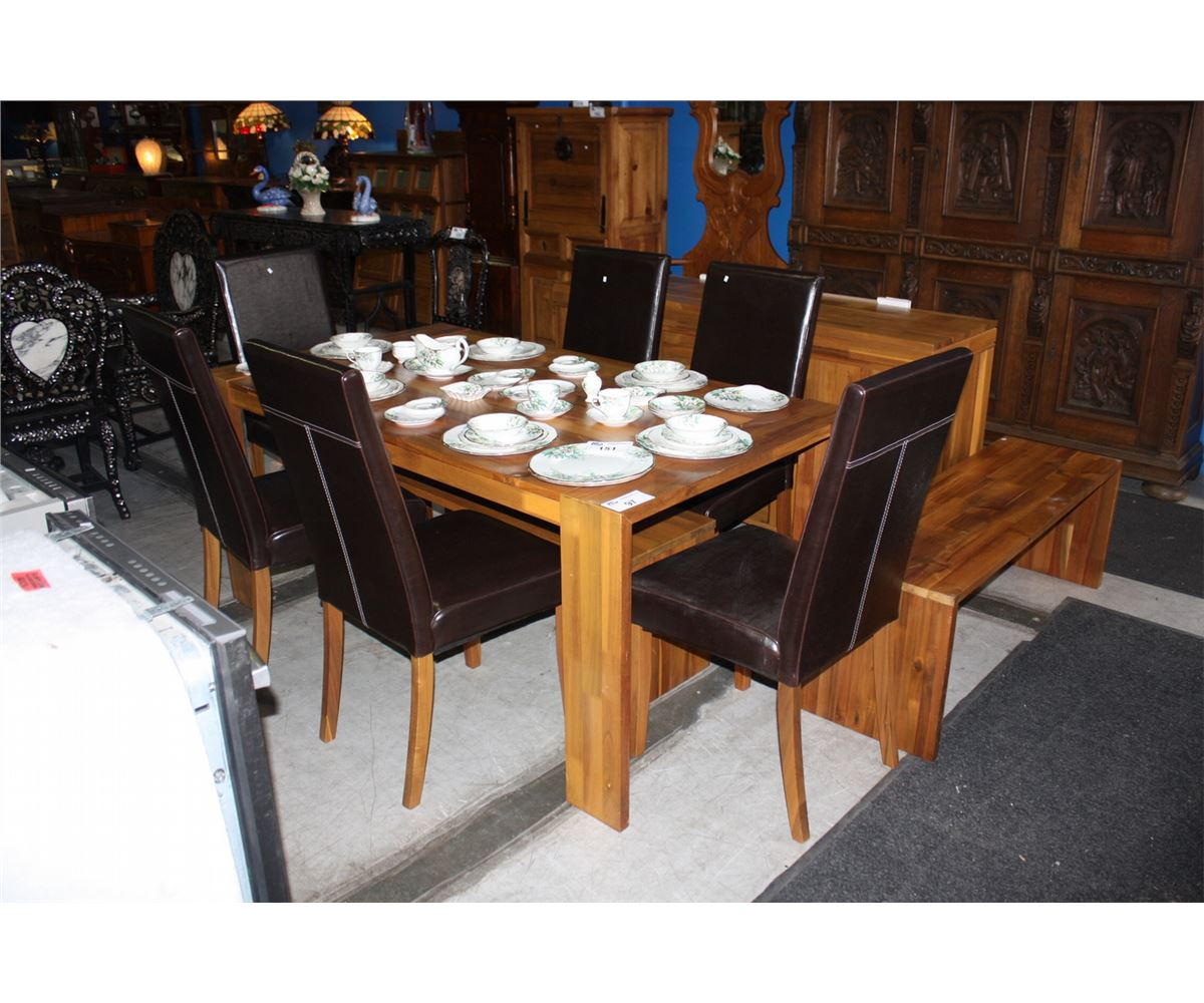 Contemporary 10pc dining room set table with 2 matching for Ensemble table buffet