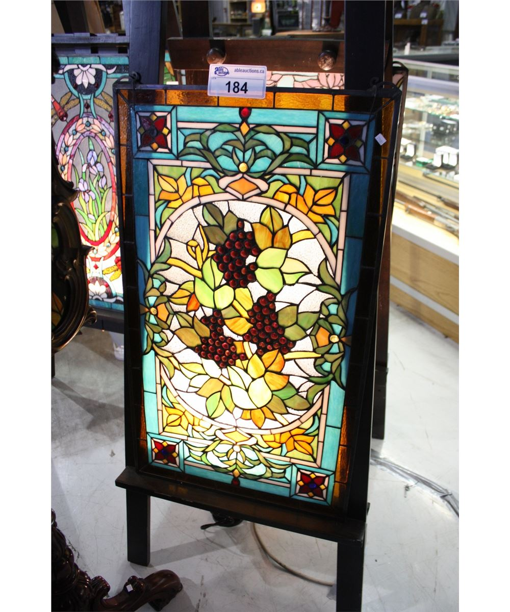 Leaded stained glass decorative window panel able auctions for Decorative stained glass windows