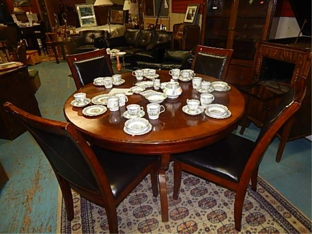 Round Inlaid Dining Table Wiht 4 Faux Leather Dining Chairs