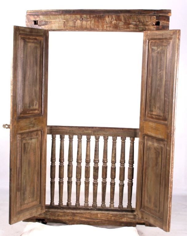 Early Antique French Doors Window With Banister. Loading Zoom