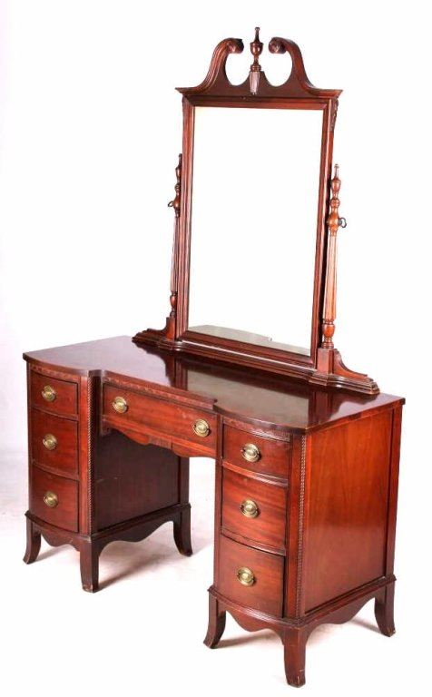 Antique Hickory Mfg. Mahogany Vanity. Loading zoom - Antique Hickory Mfg. Mahogany Vanity