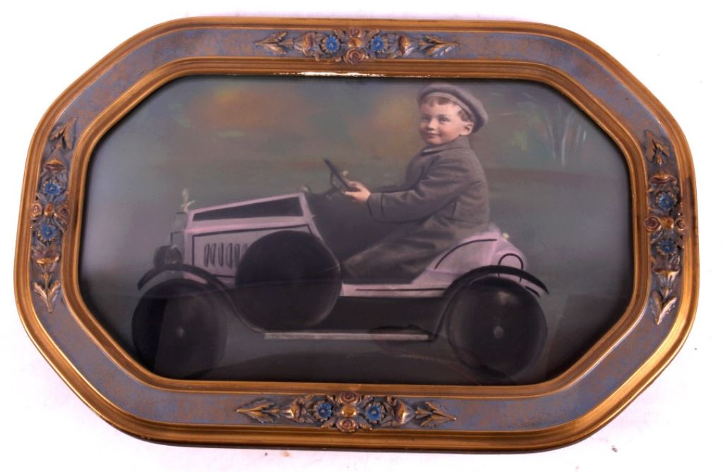Antique Pedal Car Photograph w/ Curved Glass Frame