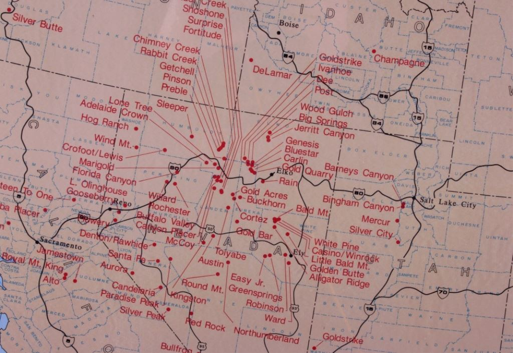 Precious Metals Mining Map Of The Western US - Western us map