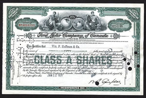 Ford Motor Company Of Canada Limited Issued Shares 1931