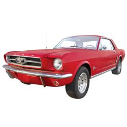 automobile 1965 ford mustang coupe red with white. Black Bedroom Furniture Sets. Home Design Ideas
