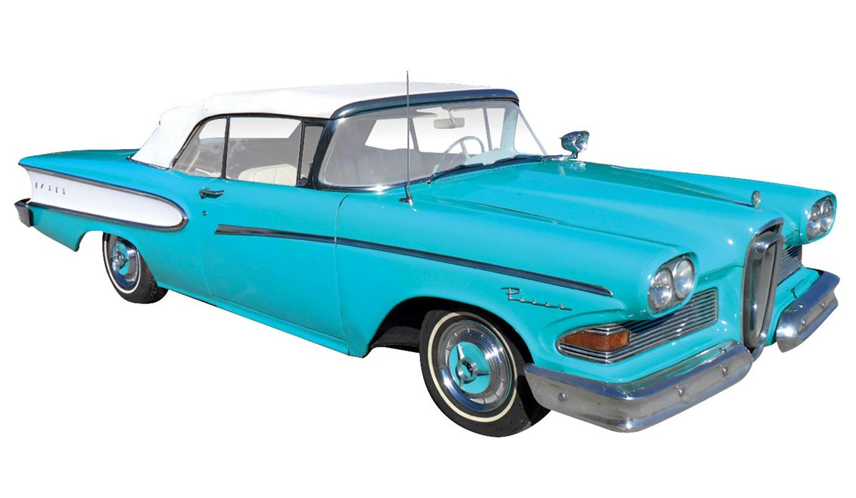 Automobile 1958 Edsel Pacer Convertible Light Blue Green Color 1957 Chevy Bel Air Colors Image 1 With