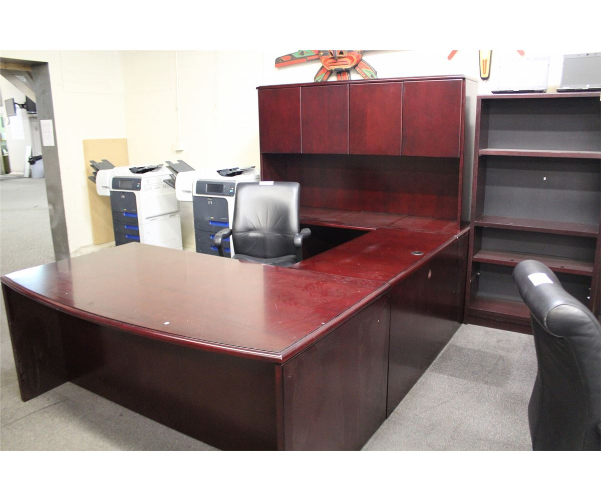 mahogany bow front u shaped executive desk comes with hutch able auctions. Black Bedroom Furniture Sets. Home Design Ideas