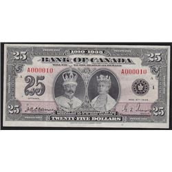 1935 Bank of Canada Twenty Five Dollars - Low Serial Number
