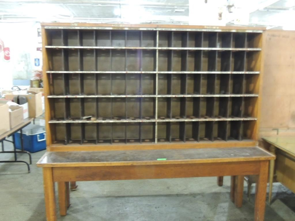 VINTAGE POSTAL MAIL SORTING DESK