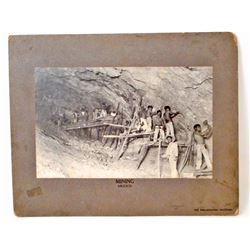 EARLY VINTAGE MOUNTED PHOTO OF MINING WORKERS INSIDE A MINE IN MEXICO