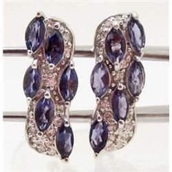 WHITE GOLD OVER STERLING SILVER PURPLE IOLITE EARRINGS