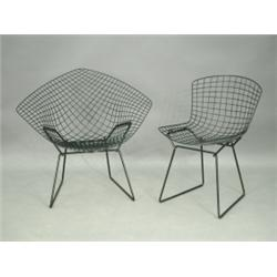 Harry Bertoia, A U0027Diamondu0027 Chickenwire Chair And Another, With The Original  Plastic Coatingu003cbr.