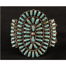 Turquoise Pettipoint Cuff Bracelet