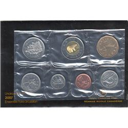Uncirculated (Proof Like) Set 2007 with 10 cents Curved 7 in envelope with card.
